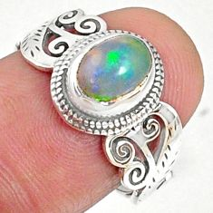1.94cts natural ethiopian opal 925 silver solitaire ring size 7.5 r68650