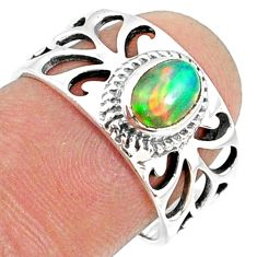 1.56cts natural ethiopian opal 925 silver solitaire ring size 7.5 r68810
