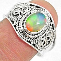 2.17cts natural ethiopian opal 925 silver solitaire ring size 8.5 r69006