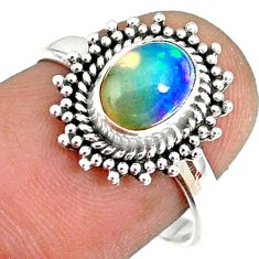 2.28cts natural ethiopian opal 925 silver solitaire ring size 7.5 r75288