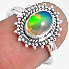 2.28cts natural ethiopian opal 925 silver solitaire ring size 7.5 r75296