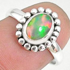 2.11cts natural ethiopian opal 925 silver solitaire ring size 7.5 r75321