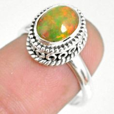 1.94cts natural ethiopian opal 925 silver solitaire ring size 6.5 r75345