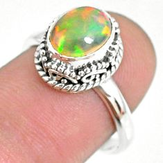 2.81cts natural ethiopian opal 925 silver solitaire ring size 7.5 r75362
