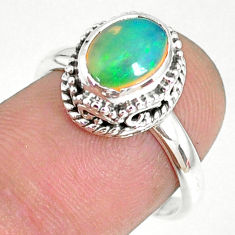 2.81cts natural ethiopian opal 925 silver solitaire ring size 7.5 r75366