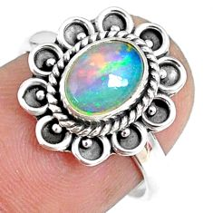 1.95cts natural ethiopian opal 925 silver solitaire ring size 6.5 r75385