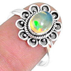 2.05cts natural ethiopian opal 925 silver solitaire ring size 8.5 r75396