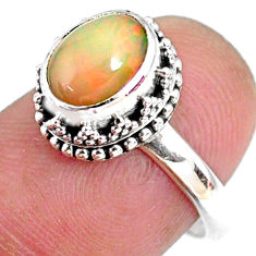 2.81cts natural ethiopian opal 925 silver solitaire ring size 7.5 r75402