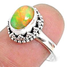 2.81cts natural ethiopian opal 925 silver solitaire ring size 8.5 r75407