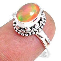 2.82cts natural ethiopian opal 925 silver solitaire ring size 8.5 r75433