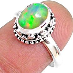 2.72cts natural ethiopian opal 925 silver solitaire ring size 7.5 r75435