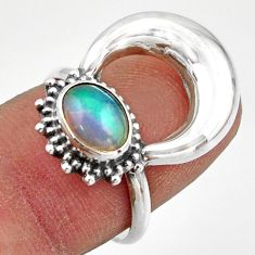 1.96cts natural ethiopian opal 925 sterling silver half moon ring size 7 r41616