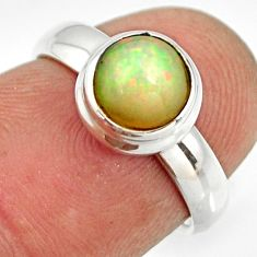 2.42cts natural ethiopian opal 925 sterling silver solitaire ring size 5 r26269