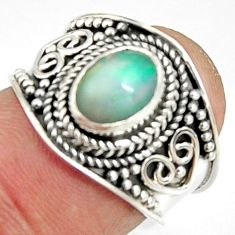 2.11cts natural ethiopian opal 925 sterling silver solitaire ring size 6 r24995