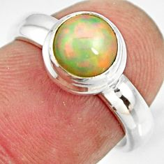2.21cts natural ethiopian opal 925 sterling silver solitaire ring size 6 r26272