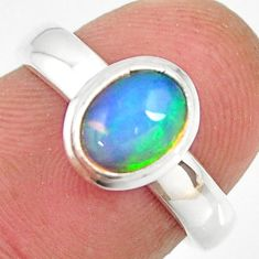 1.94cts natural ethiopian opal 925 sterling silver solitaire ring size 6 r26294