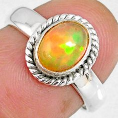 2.11cts natural ethiopian opal 925 sterling silver solitaire ring size 6 r59300