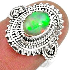 2.17cts natural ethiopian opal 925 sterling silver solitaire ring size 6 r61151
