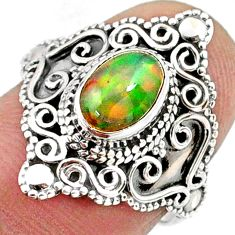 1.56cts natural ethiopian opal 925 sterling silver solitaire ring size 6 r61159