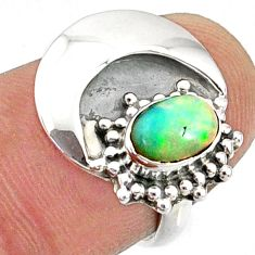 1.52cts natural ethiopian opal 925 sterling silver solitaire ring size 6 r67394