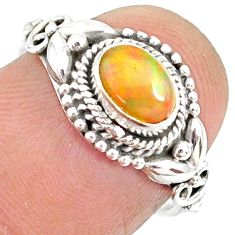 1.43cts natural ethiopian opal 925 sterling silver solitaire ring size 6 r85466