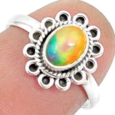 1.49cts natural ethiopian opal 925 sterling silver solitaire ring size 6 r85472