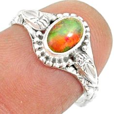 1.48cts natural ethiopian opal 925 sterling silver solitaire ring size 6 r85493