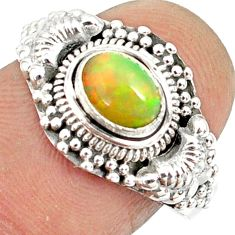 1.63cts natural ethiopian opal 925 sterling silver solitaire ring size 6 r85497