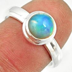 2.32cts natural ethiopian opal 925 sterling silver solitaire ring size 7 r26262