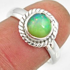 2.21cts natural ethiopian opal 925 sterling silver solitaire ring size 7 r26263