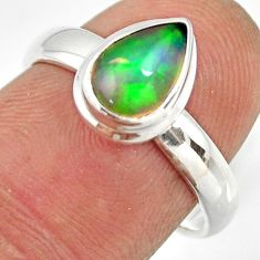 2.44cts natural ethiopian opal 925 sterling silver solitaire ring size 7 r26265