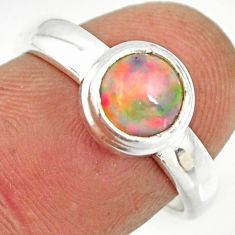 2.11cts natural ethiopian opal 925 sterling silver solitaire ring size 7 r26270