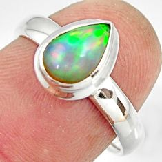 2.61cts natural ethiopian opal 925 sterling silver solitaire ring size 7 r26277