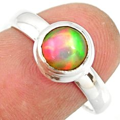 2.28cts natural ethiopian opal 925 sterling silver solitaire ring size 7 r26299