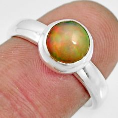 2.46cts natural ethiopian opal 925 sterling silver solitaire ring size 7 r26333