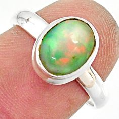 3.30cts natural ethiopian opal 925 sterling silver solitaire ring size 7 r35250