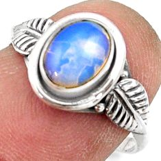 2.36cts natural ethiopian opal 925 sterling silver solitaire ring size 7 r41519