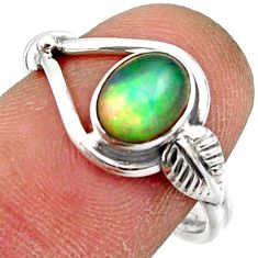 2.26cts natural ethiopian opal 925 sterling silver solitaire ring size 7 r41532