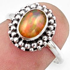 2.42cts natural ethiopian opal 925 sterling silver solitaire ring size 7 r41576