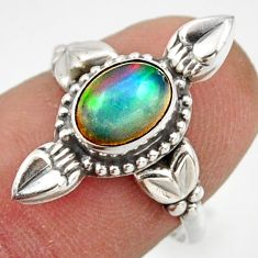 2.31cts natural ethiopian opal 925 sterling silver solitaire ring size 7 r41581