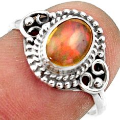 2.36cts natural ethiopian opal 925 sterling silver solitaire ring size 7 r41588