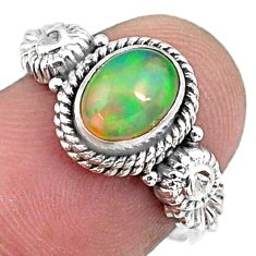1.96cts natural ethiopian opal 925 sterling silver solitaire ring size 7 r57488