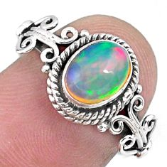 1.81cts natural ethiopian opal 925 sterling silver solitaire ring size 7 r57495