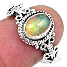 1.96cts natural ethiopian opal 925 sterling silver solitaire ring size 7 r57498
