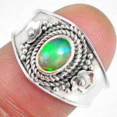 1.64cts natural ethiopian opal 925 sterling silver solitaire ring size 7 r59017