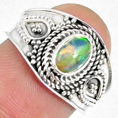 1.45cts natural ethiopian opal 925 sterling silver solitaire ring size 7 r59076