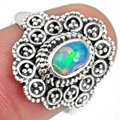 1.48cts natural ethiopian opal 925 sterling silver solitaire ring size 7 r59114