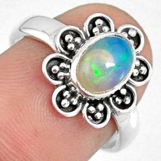 2.09cts natural ethiopian opal 925 sterling silver solitaire ring size 7 r59122