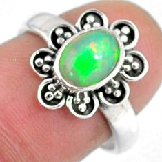 2.05cts natural ethiopian opal 925 sterling silver solitaire ring size 7 r59125