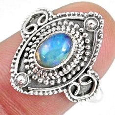 1.53cts natural ethiopian opal 925 sterling silver solitaire ring size 7 r59146
